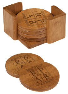 6 ROUND BAMBOO COASTERS W/BAMBOO HOLDER