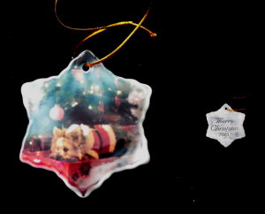 You favorite photo sublimated on a Porcelain Snow Flake Christmas Ornament. The perfect gift for someone else's tree or for yours