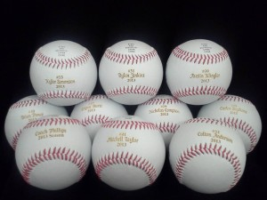 Laser Engraved baseballs Engraved here at Cascade Laser Corporation